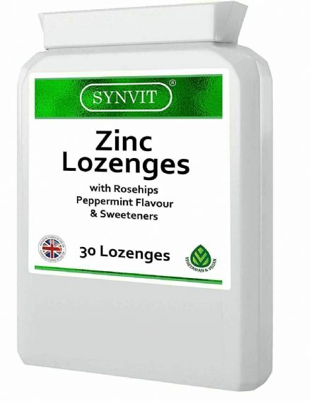 Zinc x 30 Lozenges With Rosehip; Peppermint Flavour; Synvit